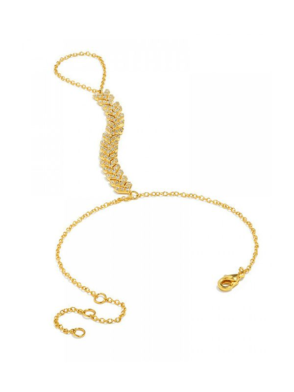 Ale by Alessandra x BaubleBar Pave Fishtail Hand Chain