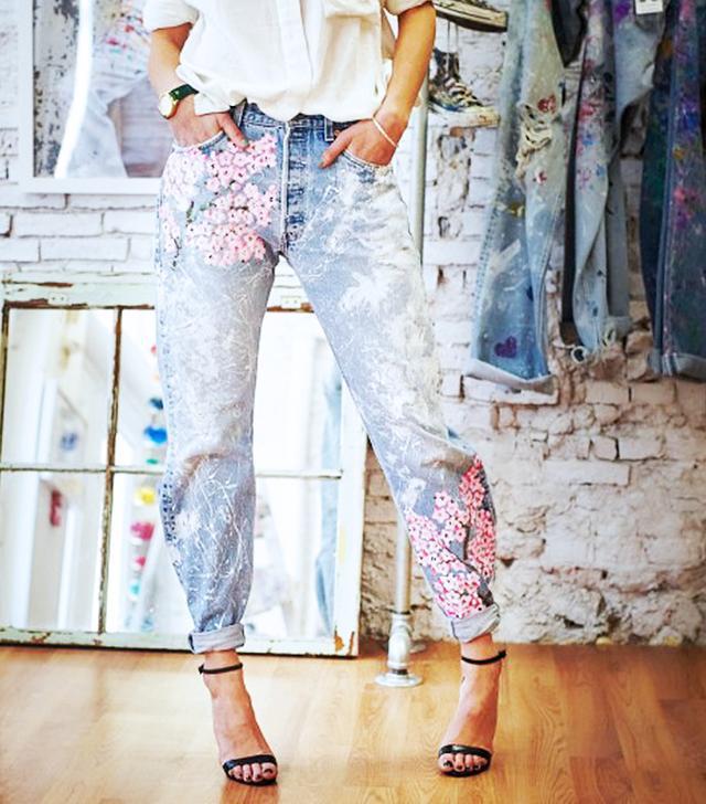 Rialto Jean Project Cherry Blossoms Boyfriend Jeans