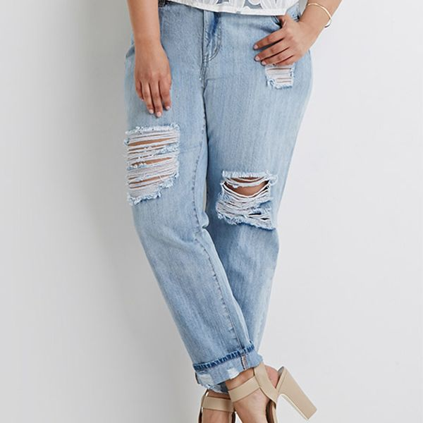 Forever 21 Distressed Cropped Jeans