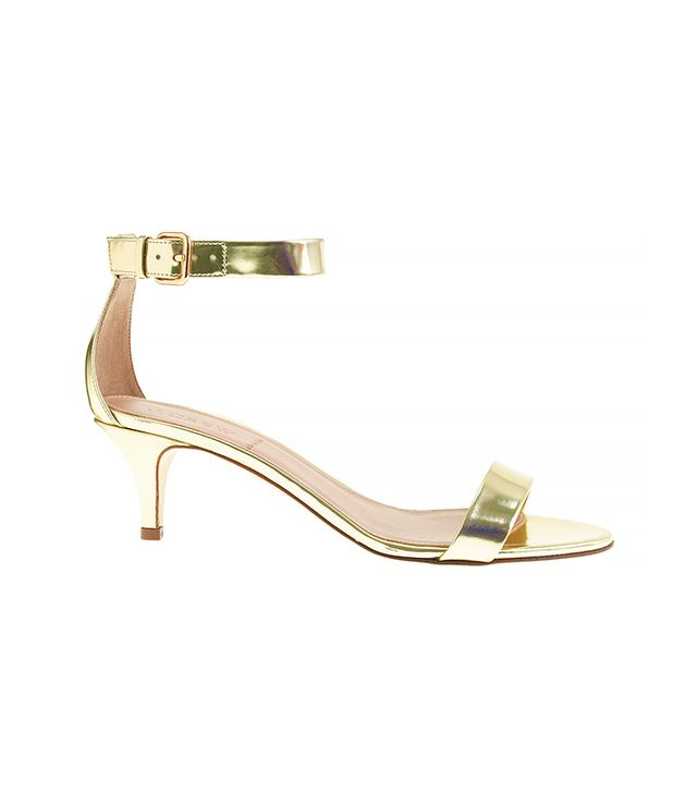 J. Crew Mirror Metallic Kitten-Heel Sandals