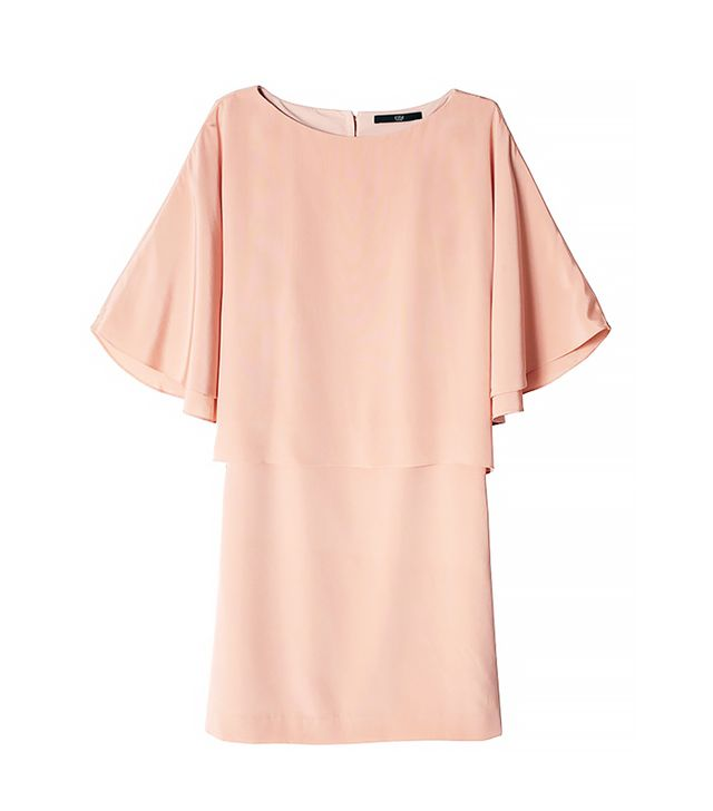 Tibi Silk Cape Dress in Momo Peach