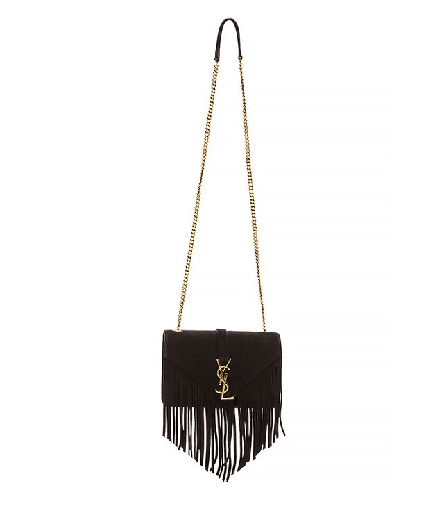 Saint Laurent Small Suede & Fringes Monogramme Chain Bag