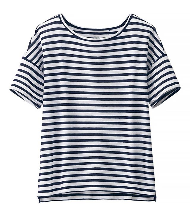 Uniqlo Modal Linen Striped Short Sleeve T-Shirt