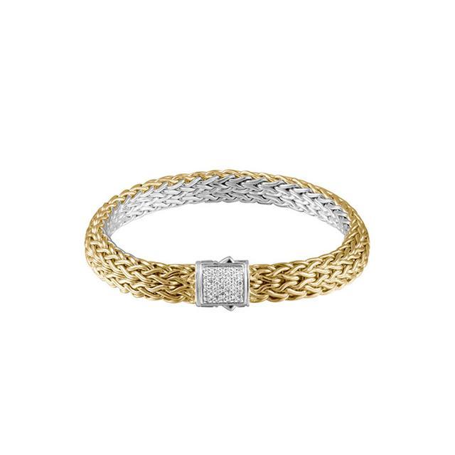 John Hardy Classic Chain Gold & Silver Medium Reversible Bracelet with Diamond Pave Clasp