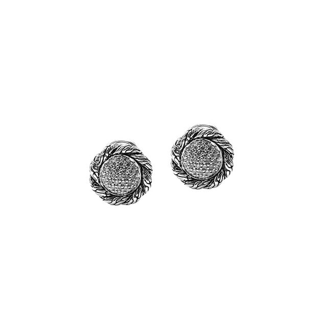 John Hardy Classic Chain Silver Stud Earrings with Diamond Pave