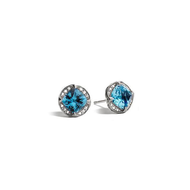 John Hardy Naga Silver Round Stud Earrings with Swiss Blue Topaz & Diamond Pave
