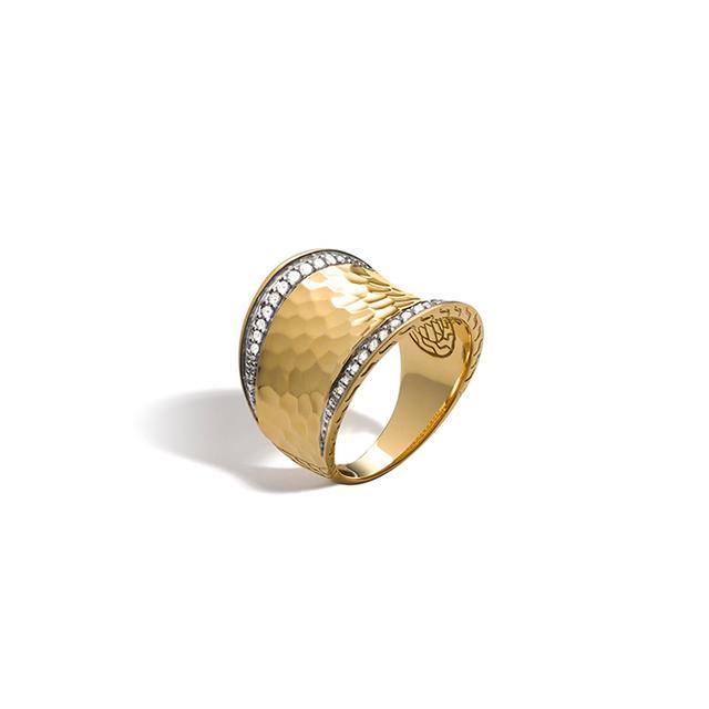 John Hardy Palu 18K Gold Diamond Pave Small Saddle Ring