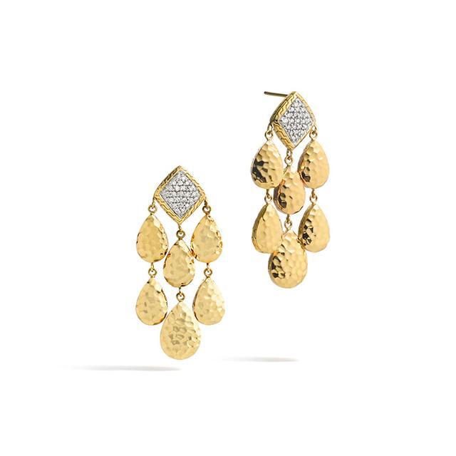 John Hardy Palu 18K Gold Diamond Pave Small Chandelier Earrings