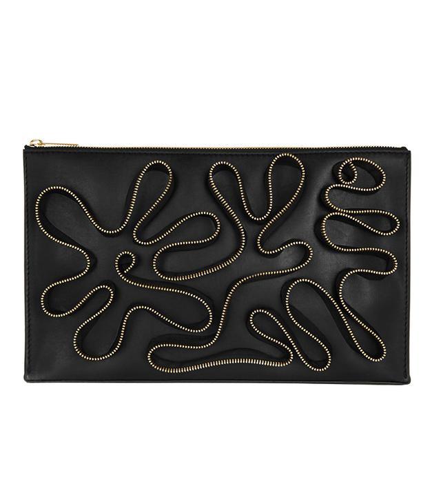 Stella McCartney Cavandish Zip-Embellished Faux Leather Clutch