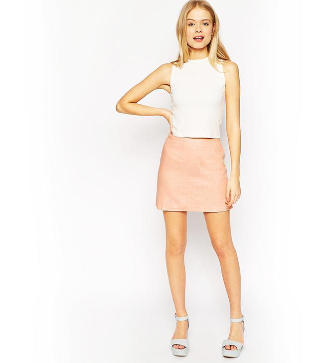 ASOS A-Line Linen Mini Skirt