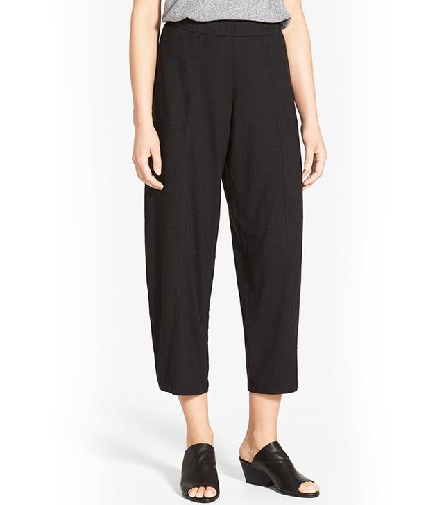 Eisleen Fisher Hemp & Organic Cotton Wide Leg Ankle Pants in Black