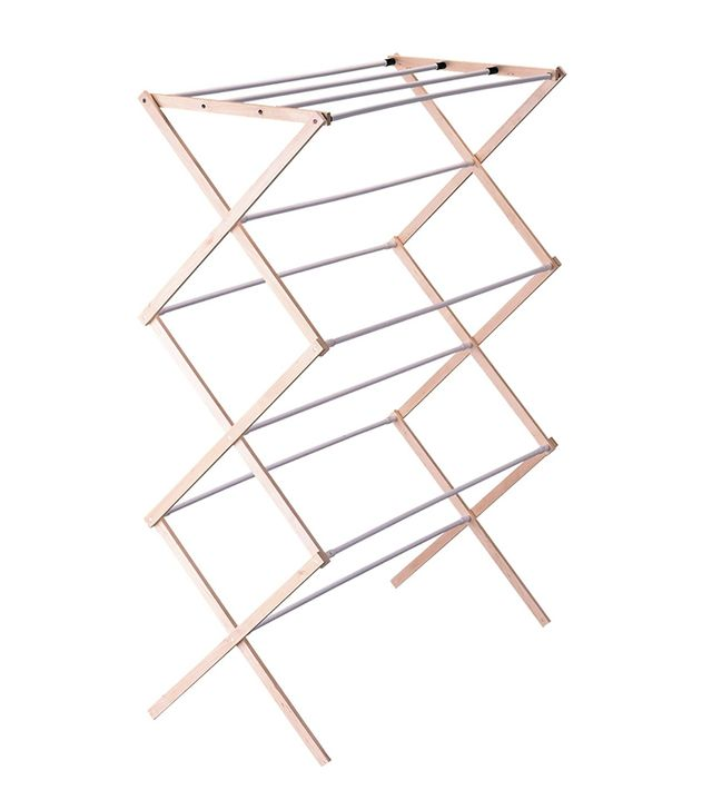Household Essentials Folding Wood Clothes Drying Rack