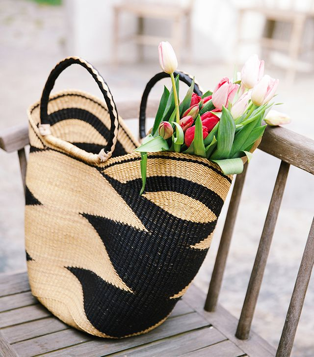 The Little Market Bohemian Market Basket in Black