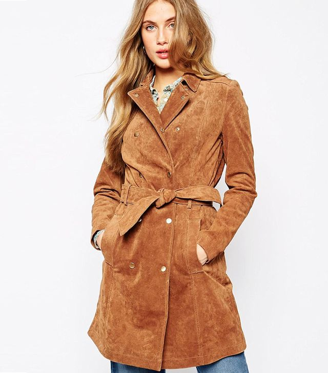 Mango Suede Belted Trench Coat