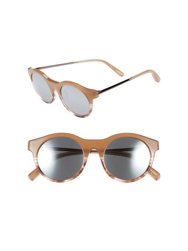 Elizabeth and James Crawford Sunglasses in Milk Brown/Silver Mirror
