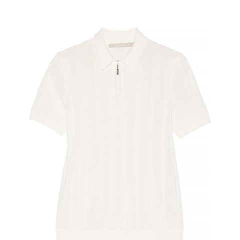 Ribbed Knit Polo Top With Zip