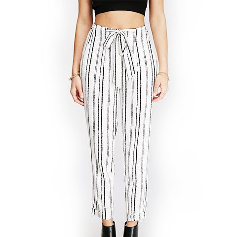 Abstract-Striped Woven Trousers