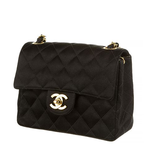 Vintage Lambskin Quilted Square Mini Flap Black