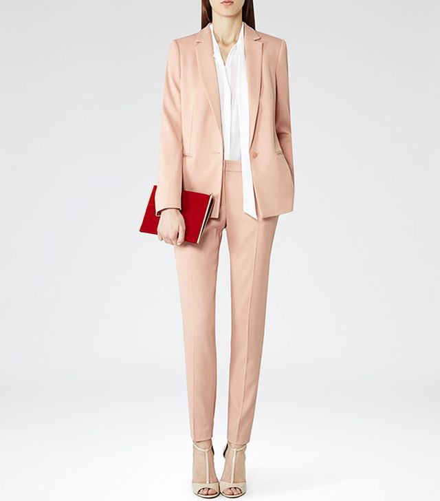Reiss Indi Long Line Blazer in Soft Amber