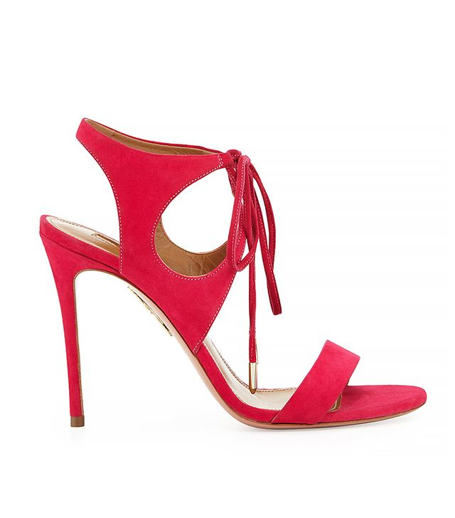 Aquazzura Colette Suede Ankle-Tie Sandal in Hot Pink