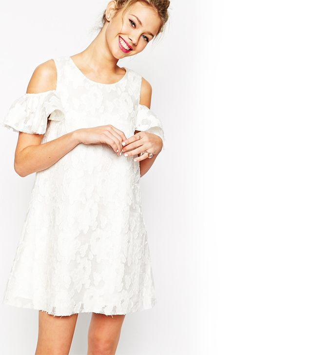ASOS Textured Shift Dress with Lace Frill Cold Shoulder