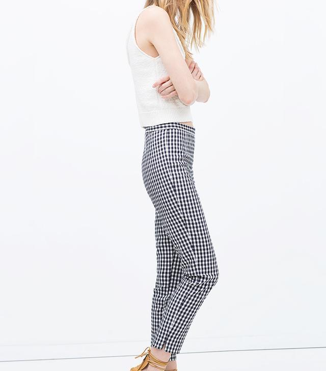 Zara Checked Skinny Trousers