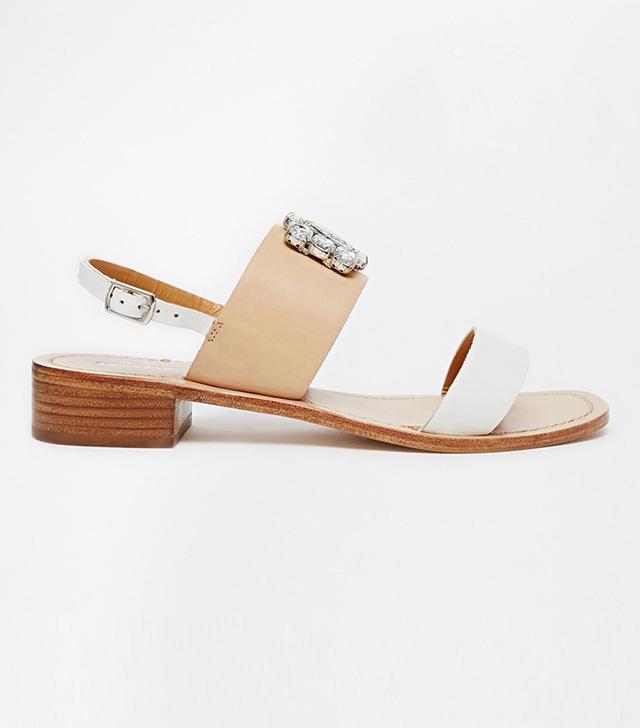 Dune Joni Square Toe Embellished Flat Sandals