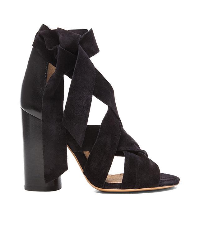 Isabel Marant Amelia Wrap Velvet Leather Heels