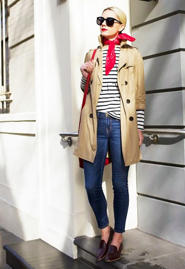 5. Striped Shirt + Trench Coat + Jeans + Loafers