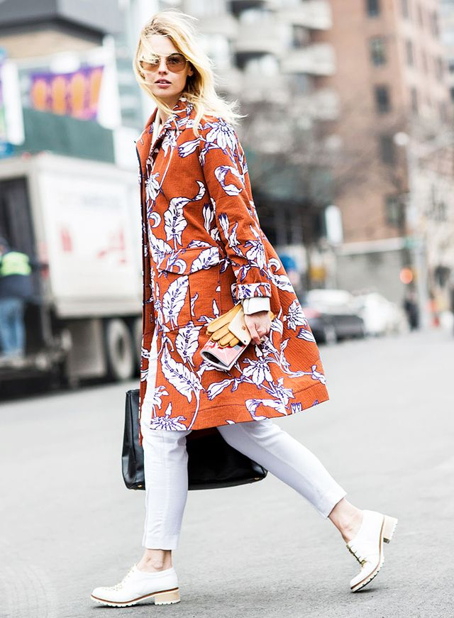 3. Printed Coat + White Pants + White Oxfords
