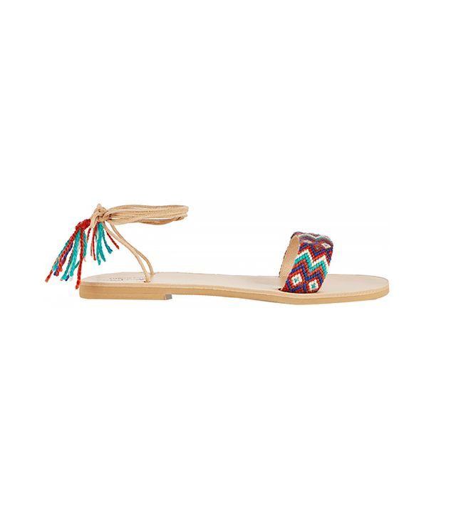 Finds + Elina Lebessi Katerina Embroidered Leather Sandals
