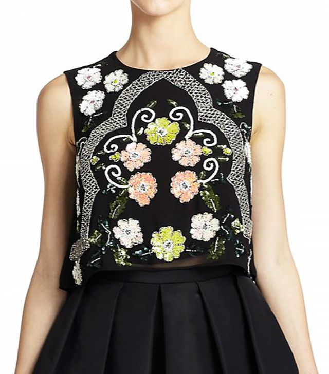 Needle & Thread Floral Sequin-Embellished Top