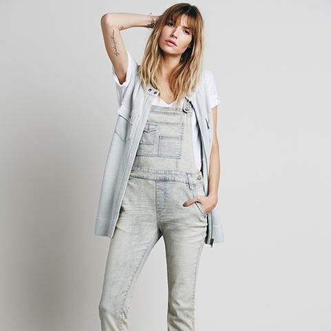 Washed Denim Overalls