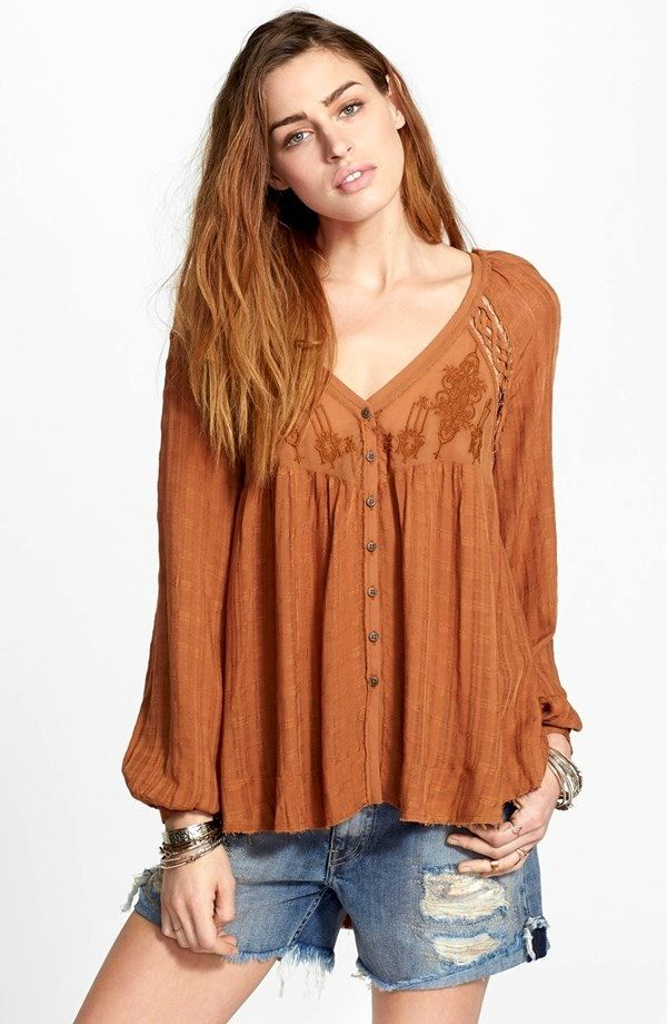 Free People Embroidered Button Front Top