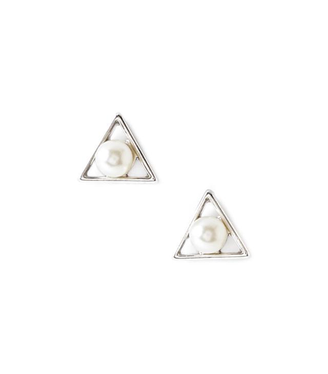 Forever 21 Faux Pearl Geo Earrings