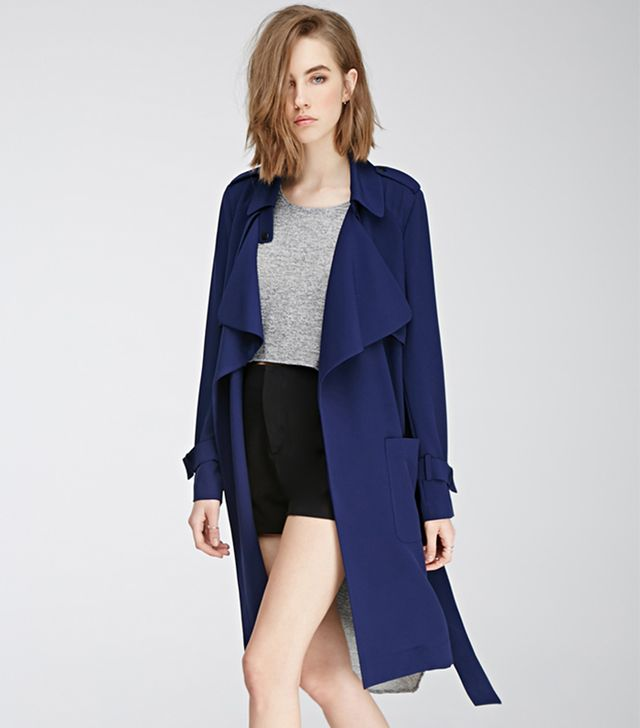 Forever 21 Belted Crepe Trench Coat