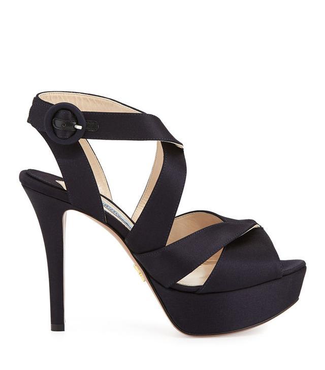 Prada Satin Crisscross Platform Sandals