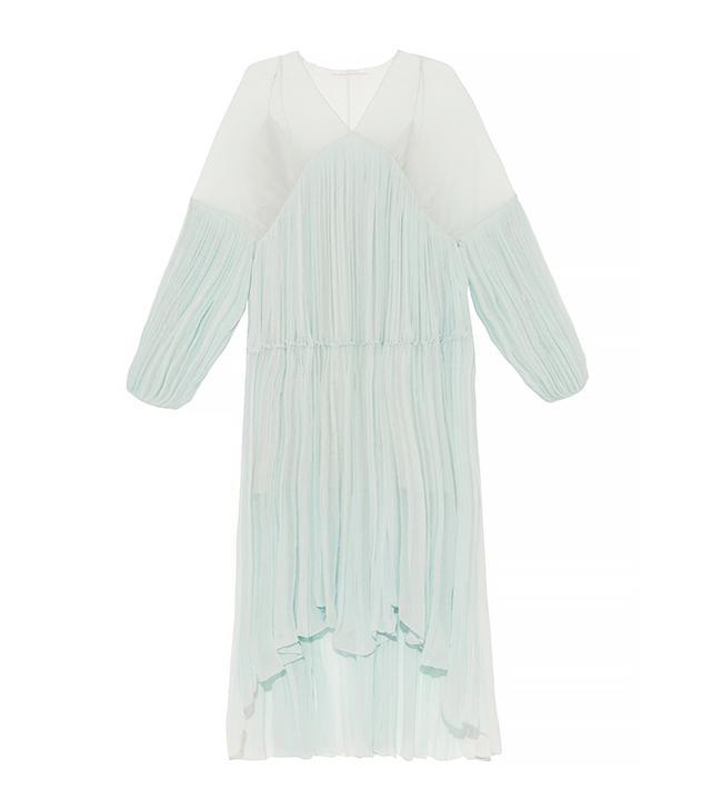 Chloé Plissé Silk-Chiffon Midi Dress