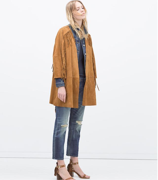Zara Ripped Straight Boyfriend Jeans