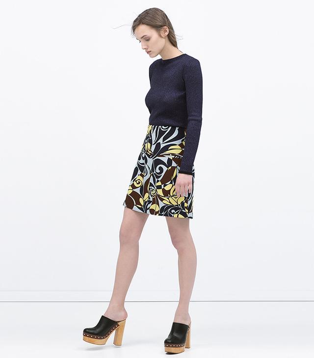 Zara Printed Flared Miniskirt