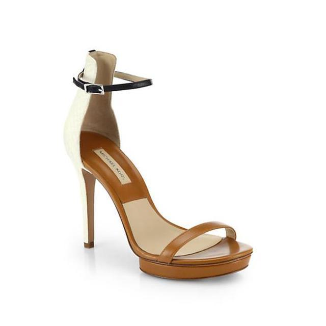 Michael Kors Doris Sueded Snakeskin Platform Sandals