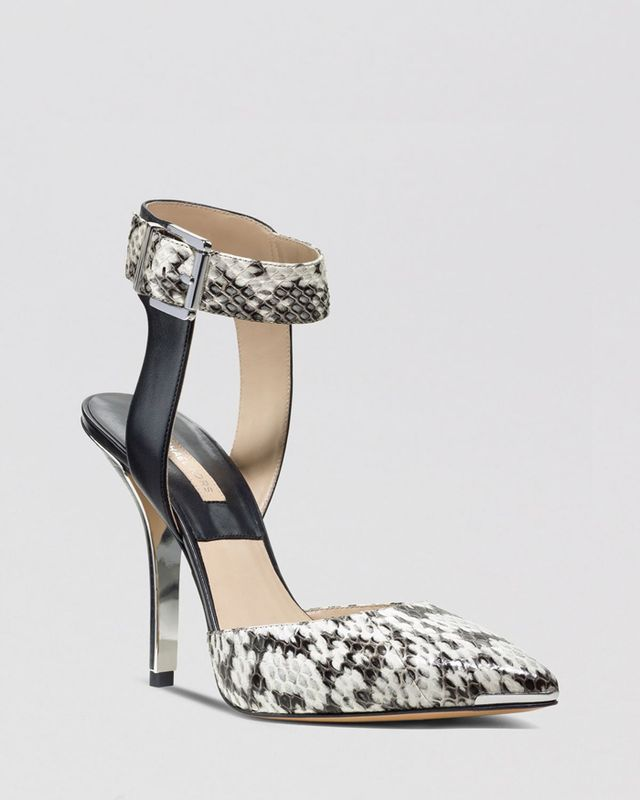 Michael Kors Alanna Snakeskin and Leather Ankle-Strap Pumps