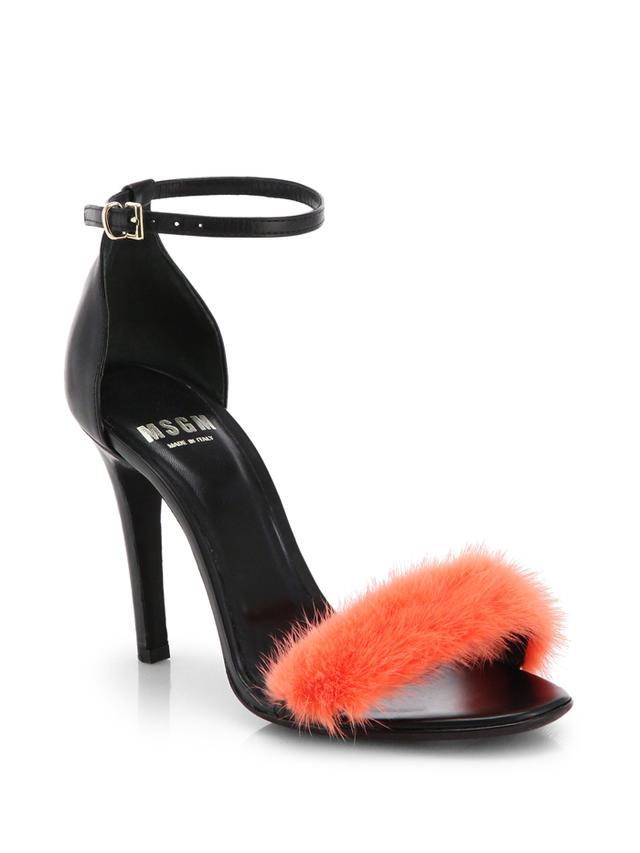 MSGM Fur-Strap Sandals