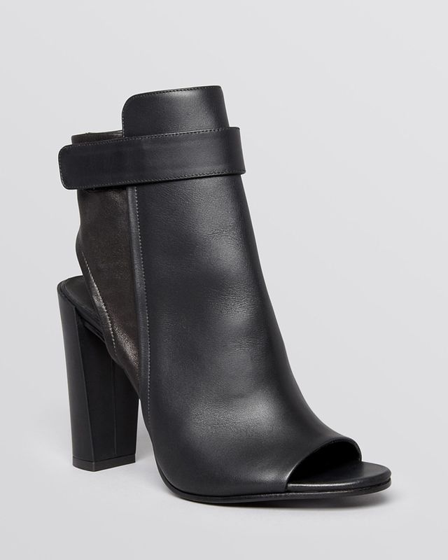 Vince Brigham Leather Open-Toe Ankle Boots