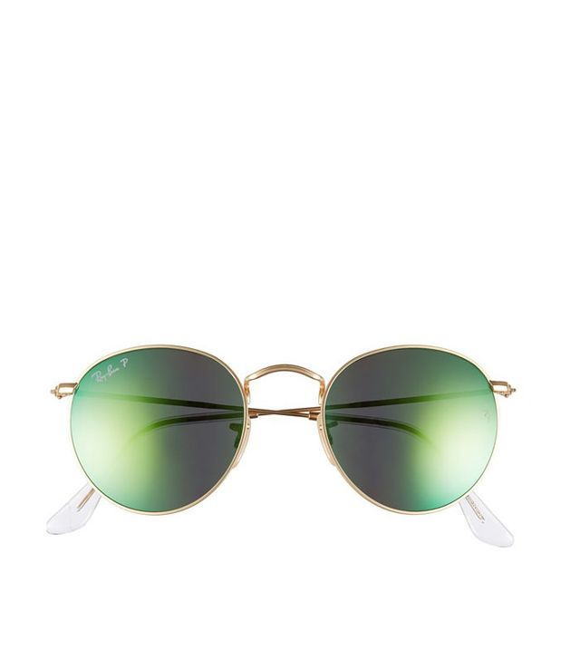 Ray-Ban 50mm Round Polarized Sunglasses