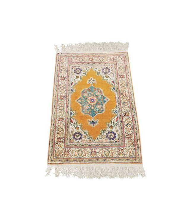 Chairish Vintage Handwoven Rug with Orange Field
