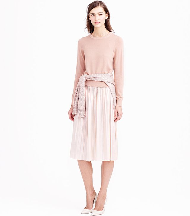J.Crew Metallic Pleated Midi Skirt