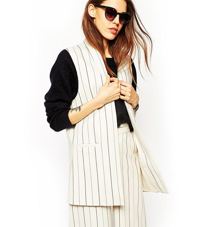 ASOS Sleeveless Blazer in Pinstripe Co-ord