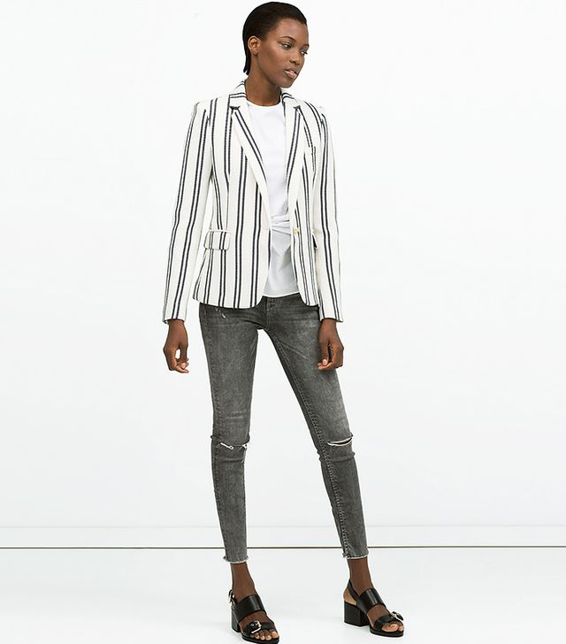 Zara Stripe Textured Blazer