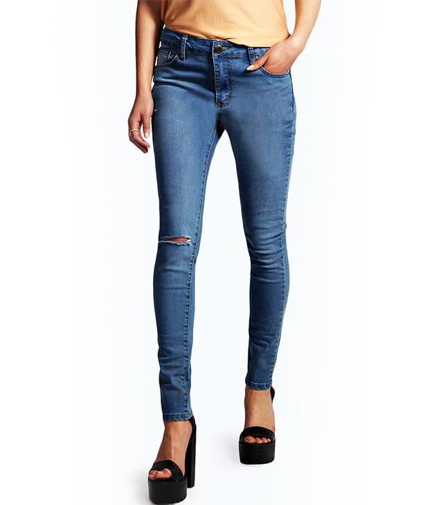 Boohoo Jess Mid Rise Super Skinny Jeans